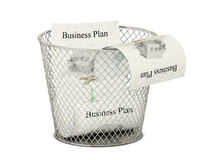 Bin and business plan papers Royalty Free Stock Photos