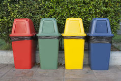 Bin. Different Colored Bins For Collection Of Recycle Materials Royalty Free Stock Photography