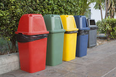 Bin. Different Colored Bins For Collection Of Recycle Materials Royalty Free Stock Images