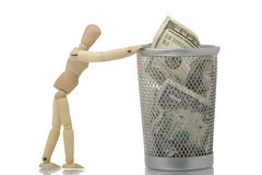 bin dolara 100 sieci śmieci dosunięcia manekina zdjęcia stock