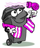 Wheelie bin cartoon Royalty Free Stock Image