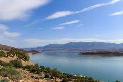 Panoramic view of the artificial lake of Bin el Oiudane. Bin El Ouidane, Azilal Province, Béni Mellal-Khénifra, Morocco - November 3, 2012 stock image