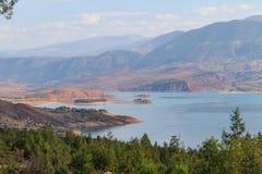 Panoramic view of the artificial lake of Bin el Oiudane. Bin El Ouidane, Azilal Province, Béni Mellal-Khénifra, Morocco stock image