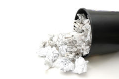 Bin filled with paper. Bin Filled with Trash royalty free stock photos