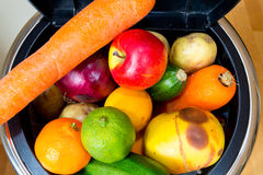 Bin full of fruit and vegetables. Bin full of food. Millions of tons of perfectly good food get dumped into landfill sites, while people in poor countries go Royalty Free Stock Photos