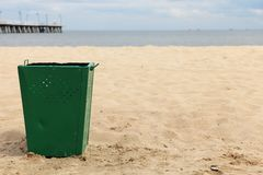 Bin garbage at beach Stock Images