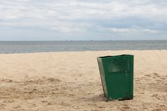 Bin garbage at beach Royalty Free Stock Photography