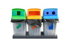 Bin garbage separation recycled on white background stock photo
