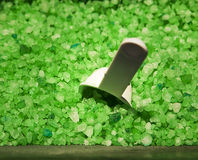 Bin Of Green Crystals Royalty Free Stock Images