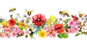 Bin i äng blommar, sommargräs, lösa sidor Upprepa den blom- horisontalgränsen vattenfärg royaltyfri illustrationer