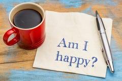 Bin ich glücklich? Eine Frage über eine Serviette Lizenzfreie Stockfotos