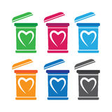 Bin Icon Set With Heart Shape Royalty Free Stock Photography