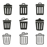 Bin icon set. Bin vector icons set. Black illustration isolated on white background for graphic and web design Stock Illustration