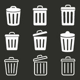 Bin icon set. Bin vector icons set. White illustration isolated on black background for graphic and web design Royalty Free Stock Photos