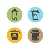 Bin icons color. Bin, garbage cans color icons Stock Illustration