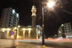 Bin Laden mosque nearby Balad Shopping area at night in Jeddah, Saudi Arabia. Bin Laden mosque nearby Balad at night in Jeddah, Saudi Arabia Stock Image