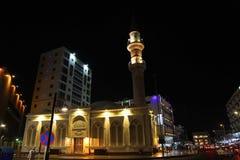 Bin Laden mosque nearby Balad Shopping area at night in Jeddah, Saudi Arabia. Bin Laden mosque nearby Balad at night in Jeddah, Saudi Arabia Royalty Free Stock Image