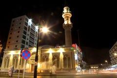 Bin Laden mosque nearby Balad Shopping area at night in Jeddah, Saudi Arabia. Bin Laden mosque nearby Balad at night in Jeddah, Saudi Arabia Royalty Free Stock Photos