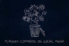 Bin with negative content on social media getting deleted Royalty Free Stock Image
