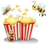 Bin och popcorn stock illustrationer