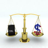 Bin oil and dollar Royalty Free Stock Images