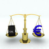 Bin oil and euro Stock Image