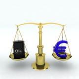 Bin oil and euro Stock Image
