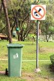 Bin in Park. Bin and  forbidden sign in Park Stock Photography