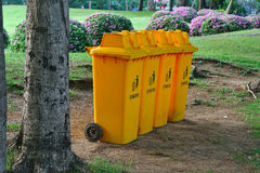 Bin. In park  plant garden background Royalty Free Stock Photography