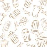 Bin pattern. Repeating pattern, trash cans, banana peels stock photos