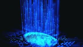 Bin?r mikrochips f?r fingeravtryck arkivfilmer