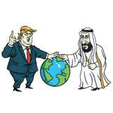 Bin Salman Laying Hands de Donald Trump e do príncipe Mohammad no globo Vetor dos desenhos animados 11 de março de 2019 ilustração royalty free
