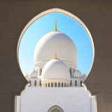 Bin Zayed Grand Mosque. View on the main tower of the Grand Mosque in Abu Dhabi Stock Image