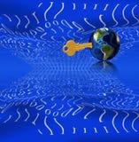 Binair getal, sleutel en aarde Stock Afbeelding