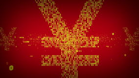 Binair Yen Symbol Red And Gold stock footage