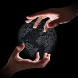 Binaire aarde in handen stock afbeelding