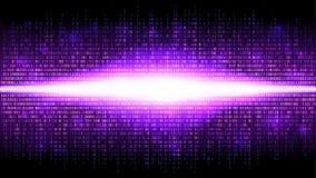 Binaire abstracte achtergrond met heldere uitstraling in de digitale ruimte, gloeiende wolk van grote gegevens stock illustratie