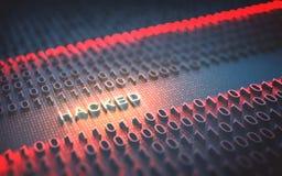 Binaire Binnendrongen in een beveiligd computersysteem Code Stock Foto's