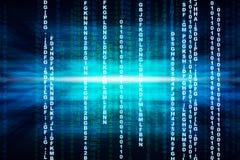 Binaire blauwe computercode Stock Afbeeldingen