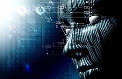 Binaire code en gezicht Stock Afbeeldingen