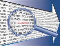 Binaire code en wachtwoord onder meer magnifier glas Stock Foto's