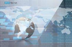 Binaire code en wereldkaart 2 Vector Illustratie