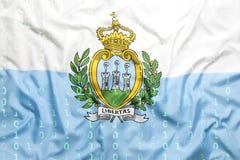 Binaire code met de vlag van San Marino, gegevensbeschermingconcept Stock Foto's