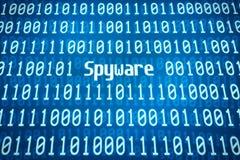 Binaire code met het woord Spyware Stock Afbeeldingen