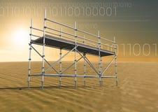Binaire code in woestijn met 3D Steiger Stock Fotografie