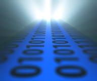 Binaire codemanier aan laptop Stock Afbeelding