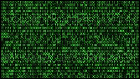 Binaire codes 0 en 1 inzake scherm die, het snel veranderen concept cyberveiligheid stock footage