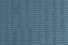 Binaire codes Sluit omhoog van blauwe digitale elektronische gedrukte kringsraad Soldeerselkant Macro van een PCB stock afbeeldingen