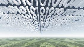 Binaire codewolken Stock Afbeelding