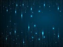 Binaire matrijsachtergrond Dalende cijfers op donkerblauwe achtergrond Lopende random numbers Vector illustratie vector illustratie
